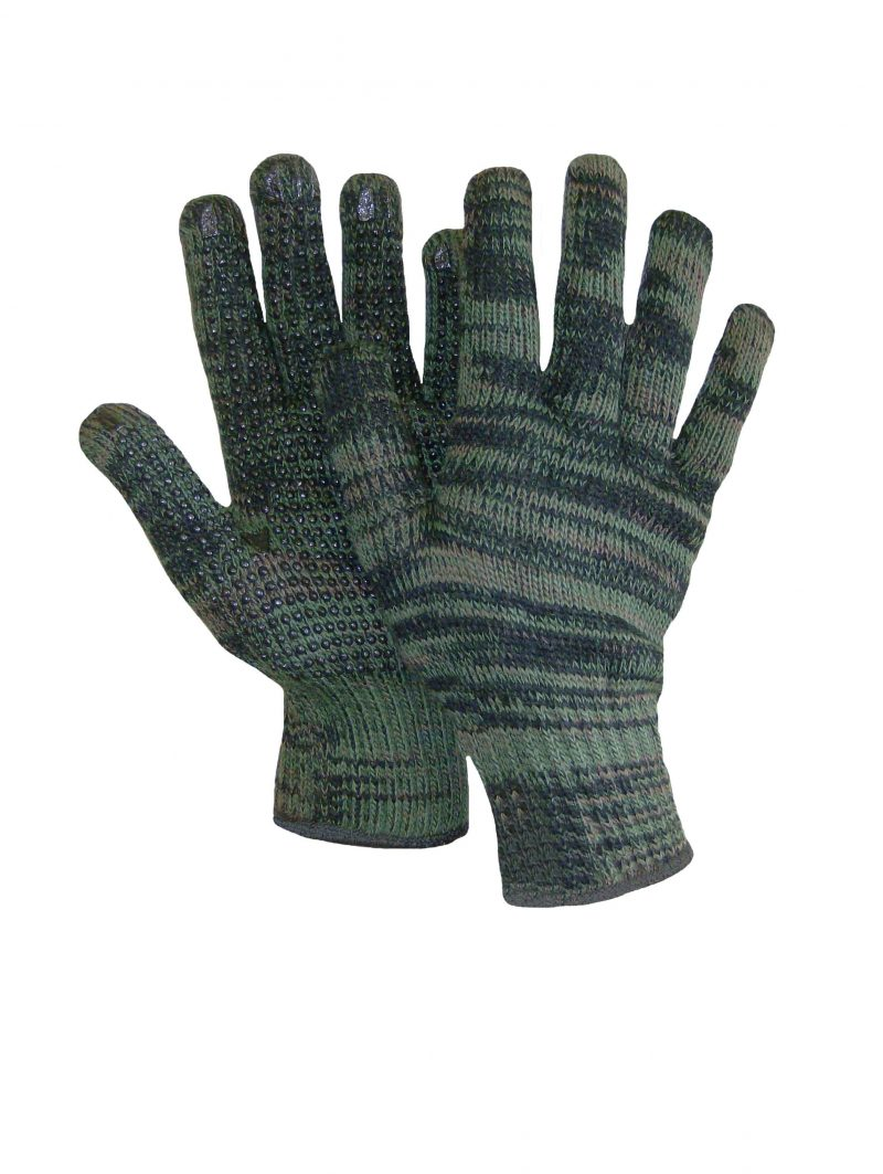 KNIT CAMOUFLAGE GLOVE WITH PVC DOTS