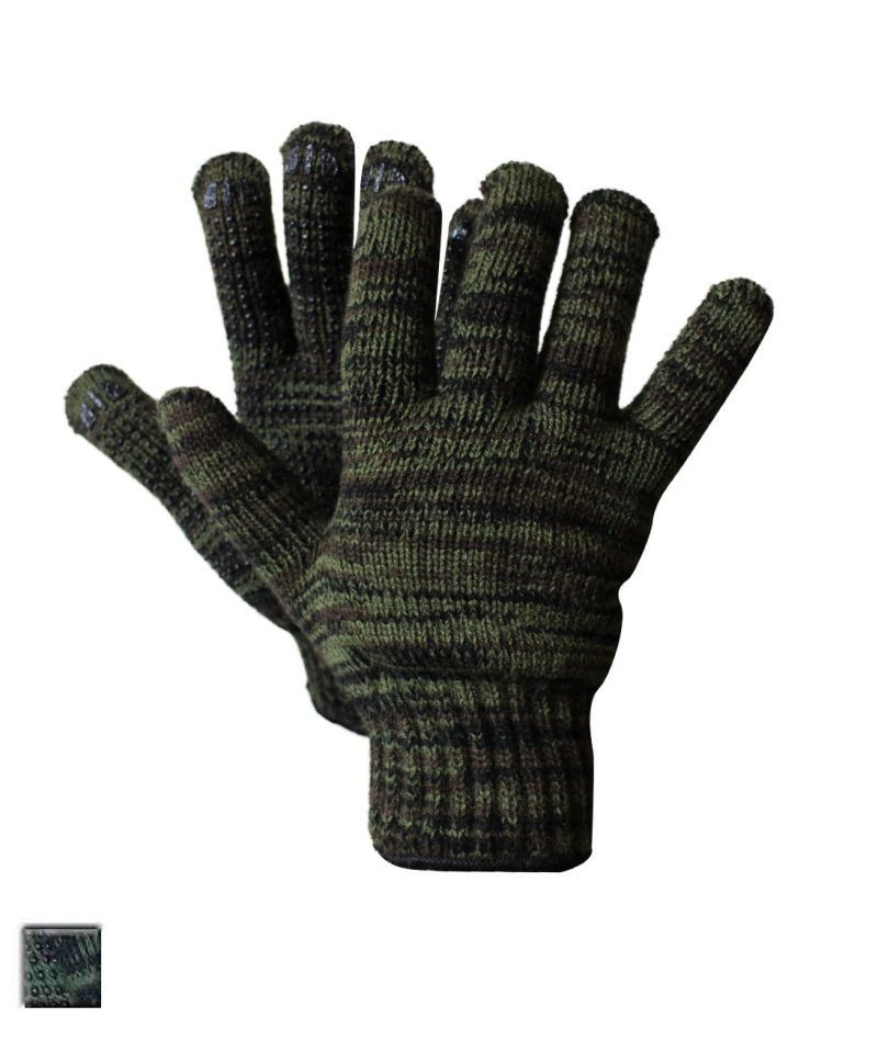 LINED KNIT CAMOUFLAGE GLOVE WITH PVC DOTS