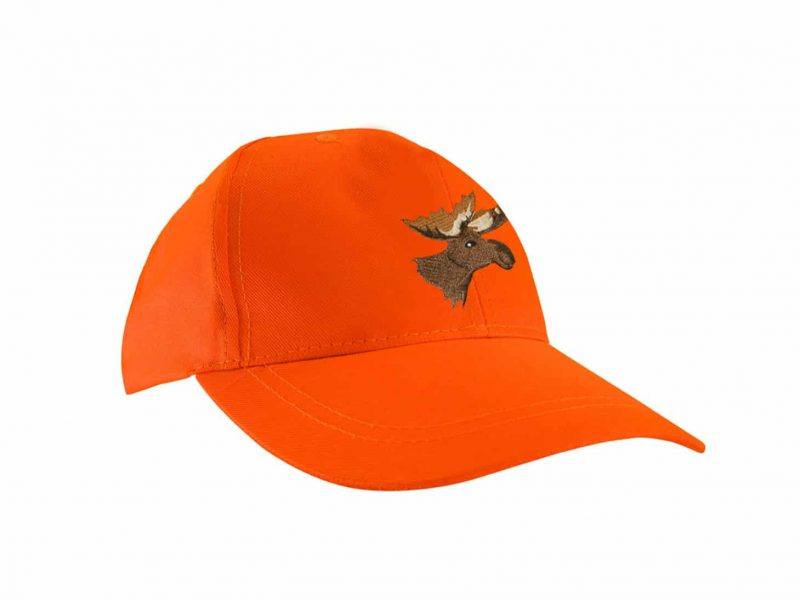 FLUORESCENT ORANGE CAP WITH MOOSE EMBROIDERY