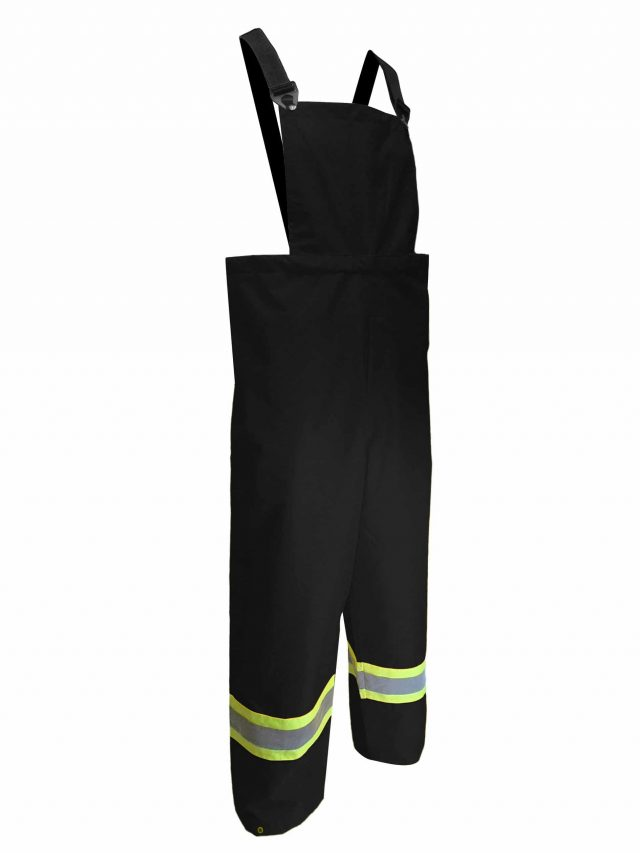 OXFORD POLYESTER BIB PANTS WITH REFLECTIVE STRIPES